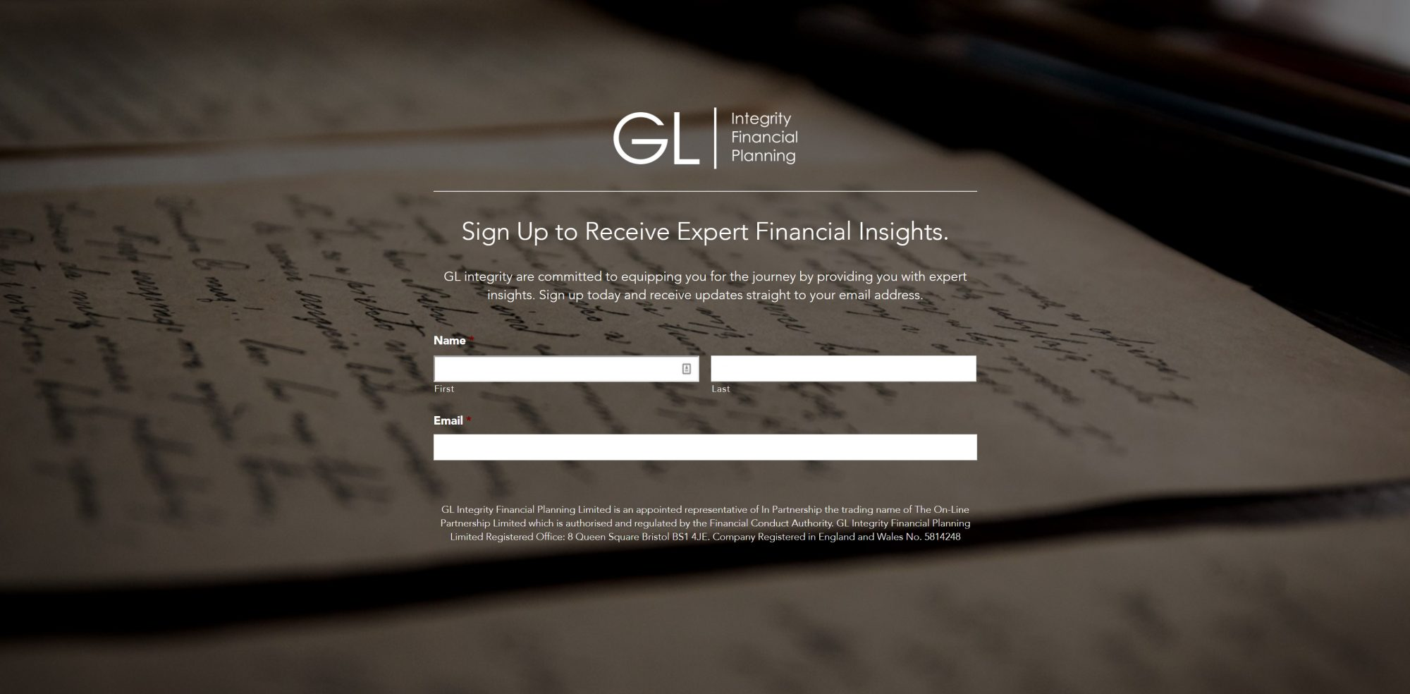 GL Signup 1 - How to Utilise Your Business Landing Page
