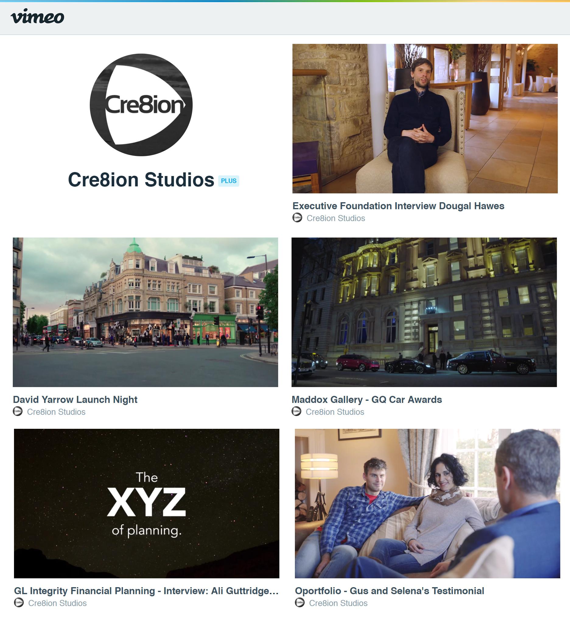Cre8ion studios Vimeo