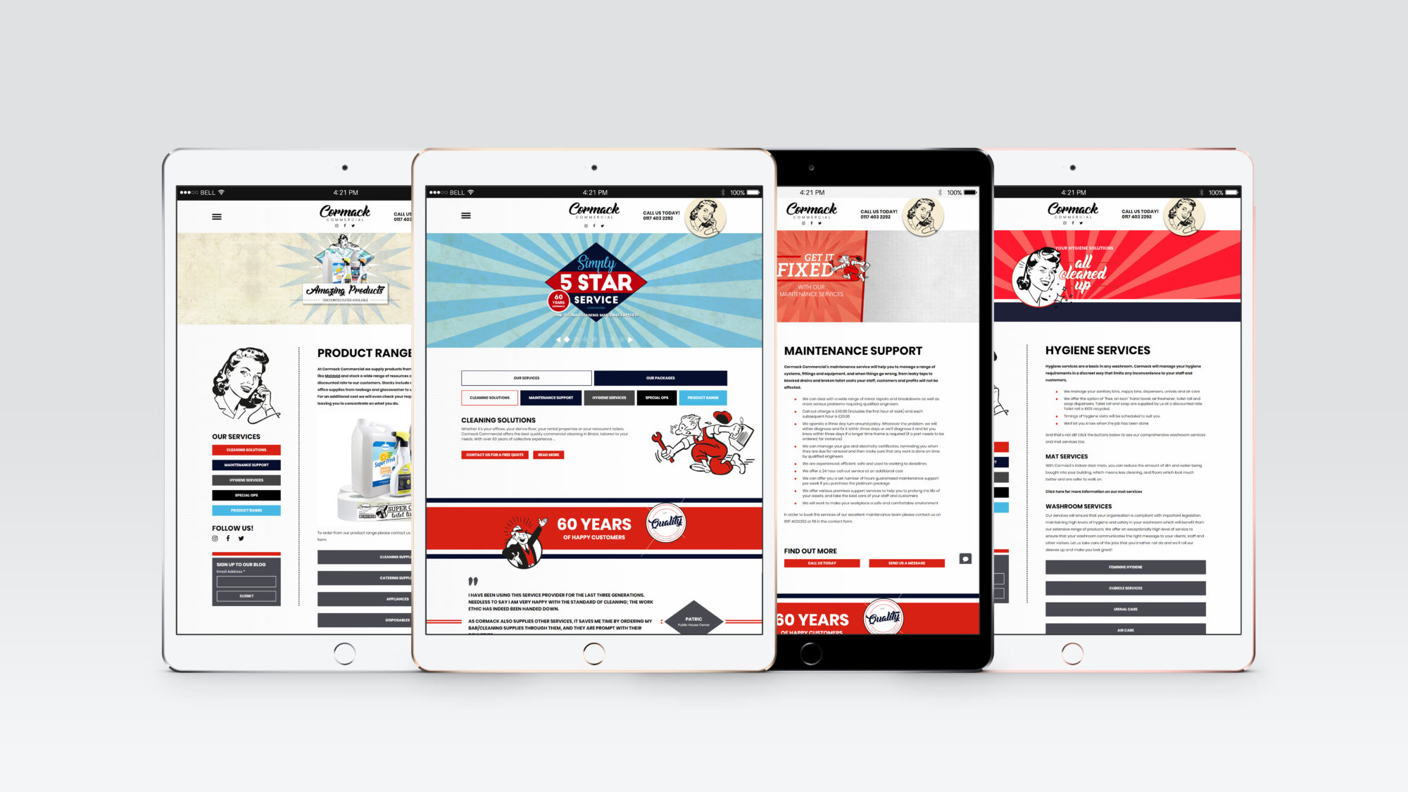 Cormack Ipad mockup - Cormack Commercial Cleaning Up
